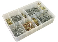 Box of Assorted Brake Shoe Hold-Down Pins, Springs and Washers. 200 Pieces
