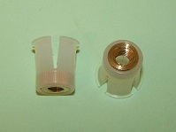 Nylon snap-in nut with a M6 brass insert used with BSF129. Ford Capri, Fiesta Rear No. Plate and general application.